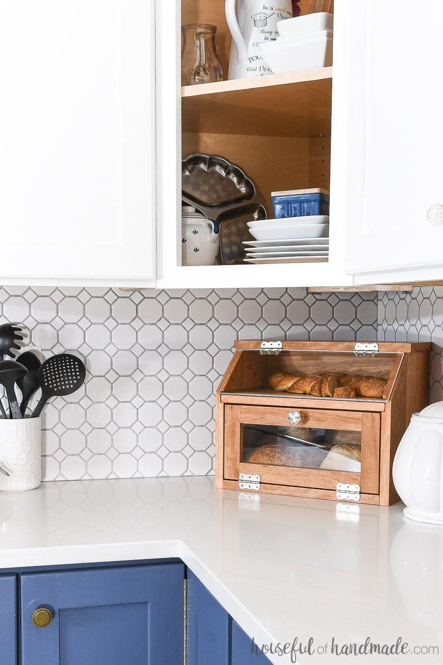 Diy bread box in the corner of a kitchen counter diy kitchen