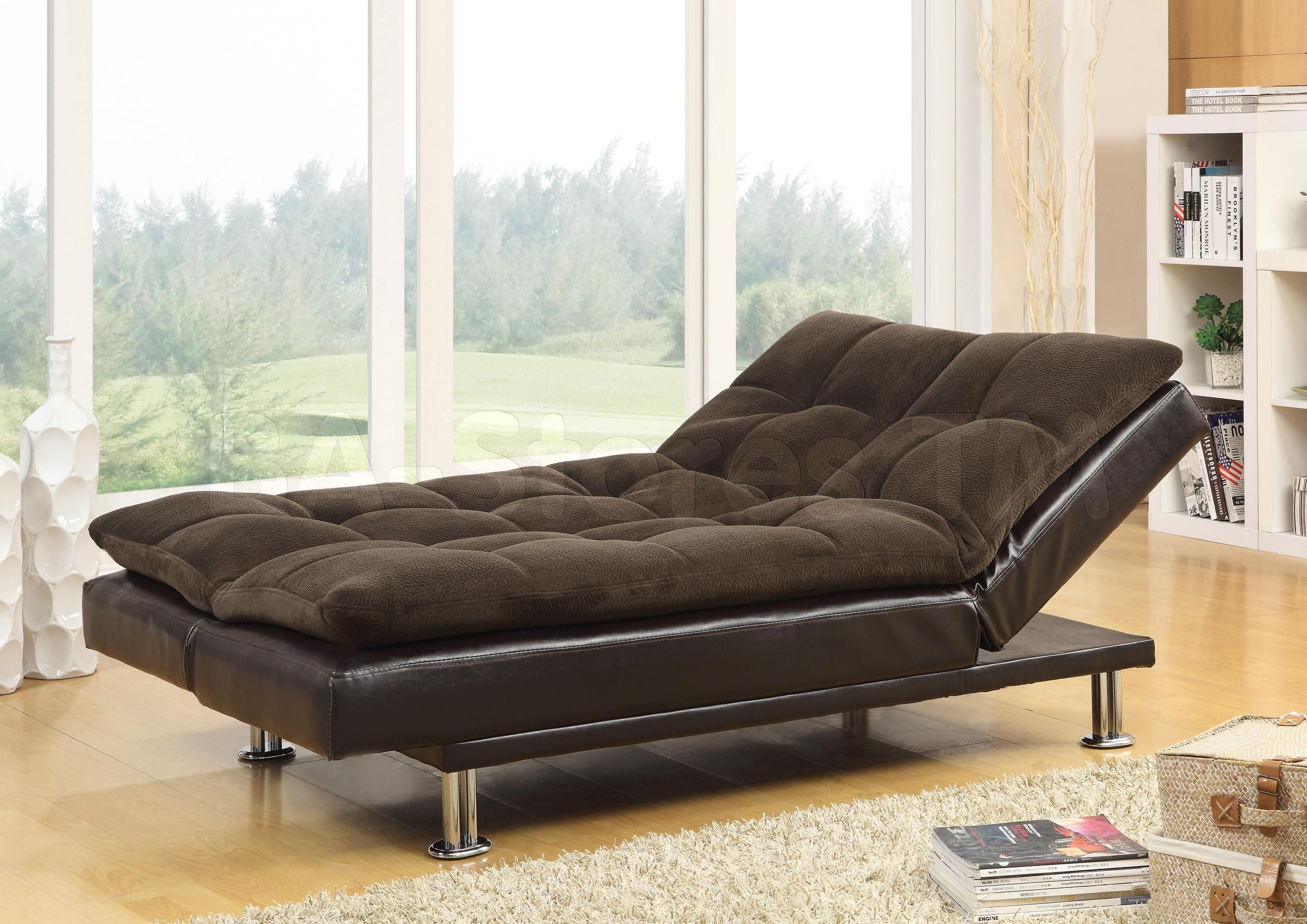 Modern Futon Sofa Bed With Chrome Legs And Carpet Idea
