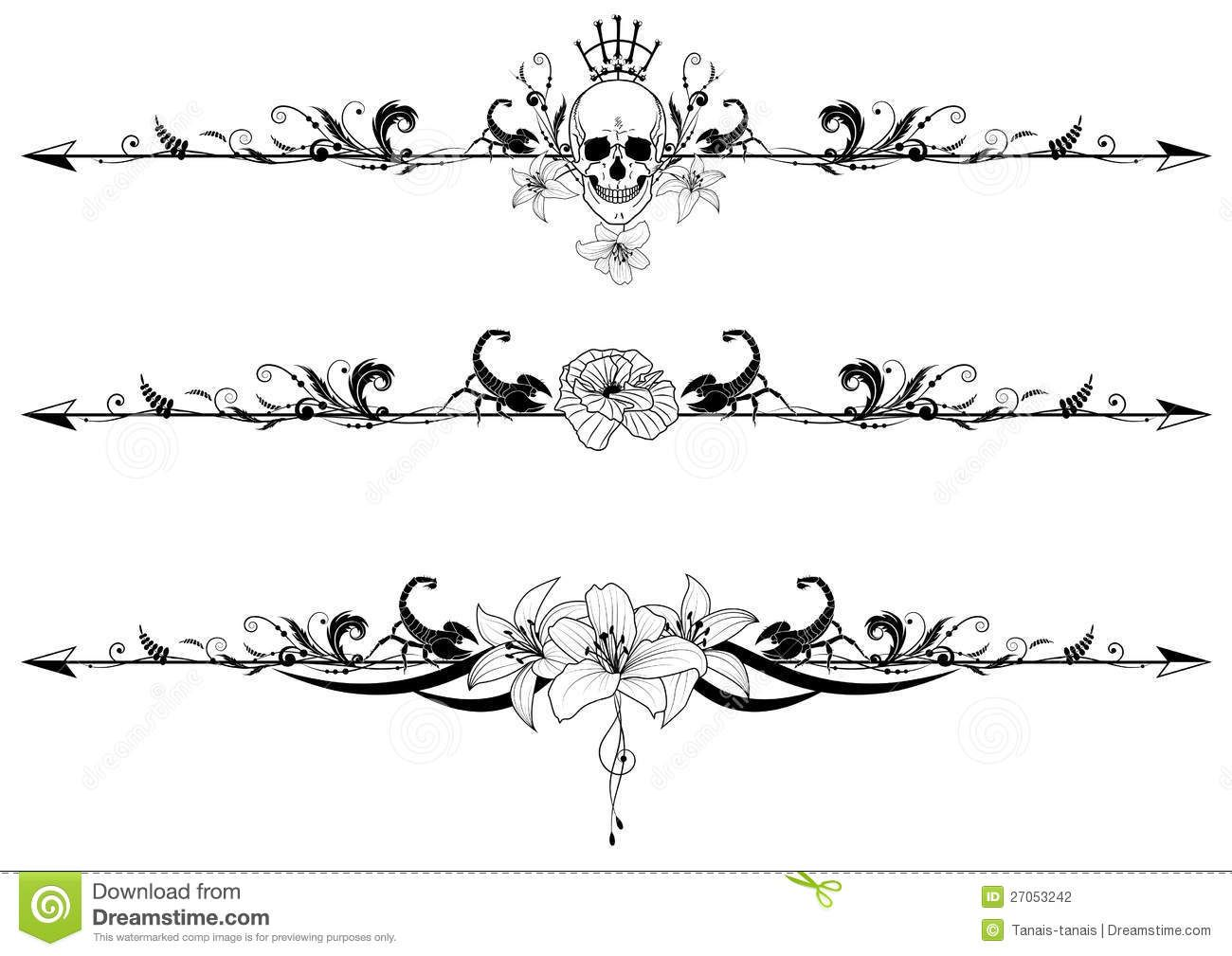 Vector Set Of Gothic Borders With Cranium Scorpions And