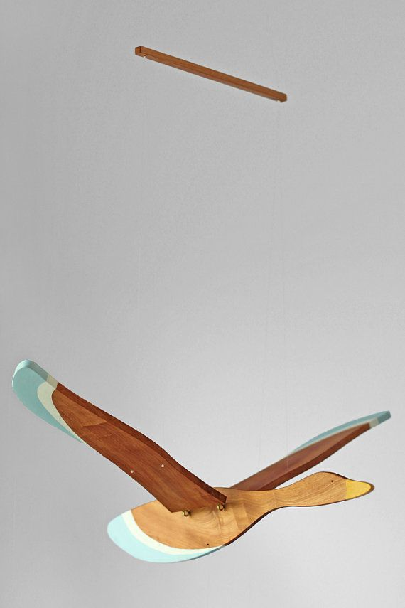 wooden flying bird mobile by