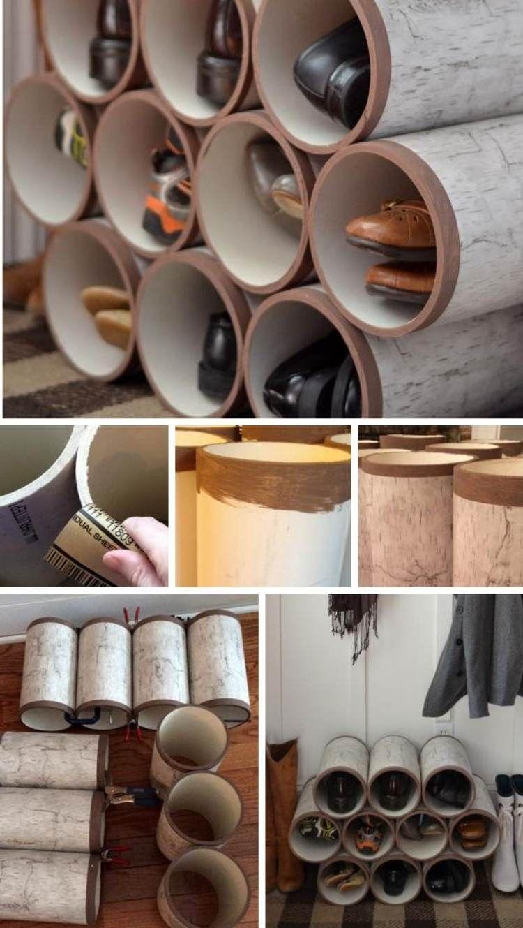 Hohes Schuhregal.Schuhregal Aus Mehreren Zylindern Zusammen Bauen Schuh