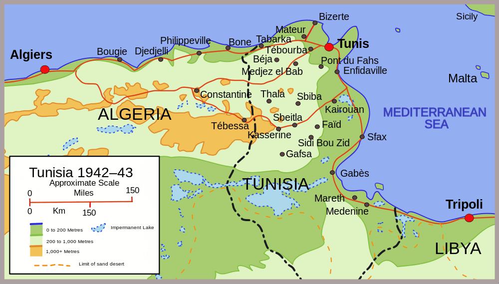 North African Campaign - map of Tunisia 1942. | Deserto Segunda ...