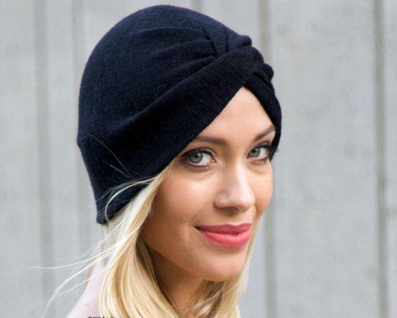 Black Turban Hat Stretch Turban Hat Full Turban Fall Fashion Knit ...