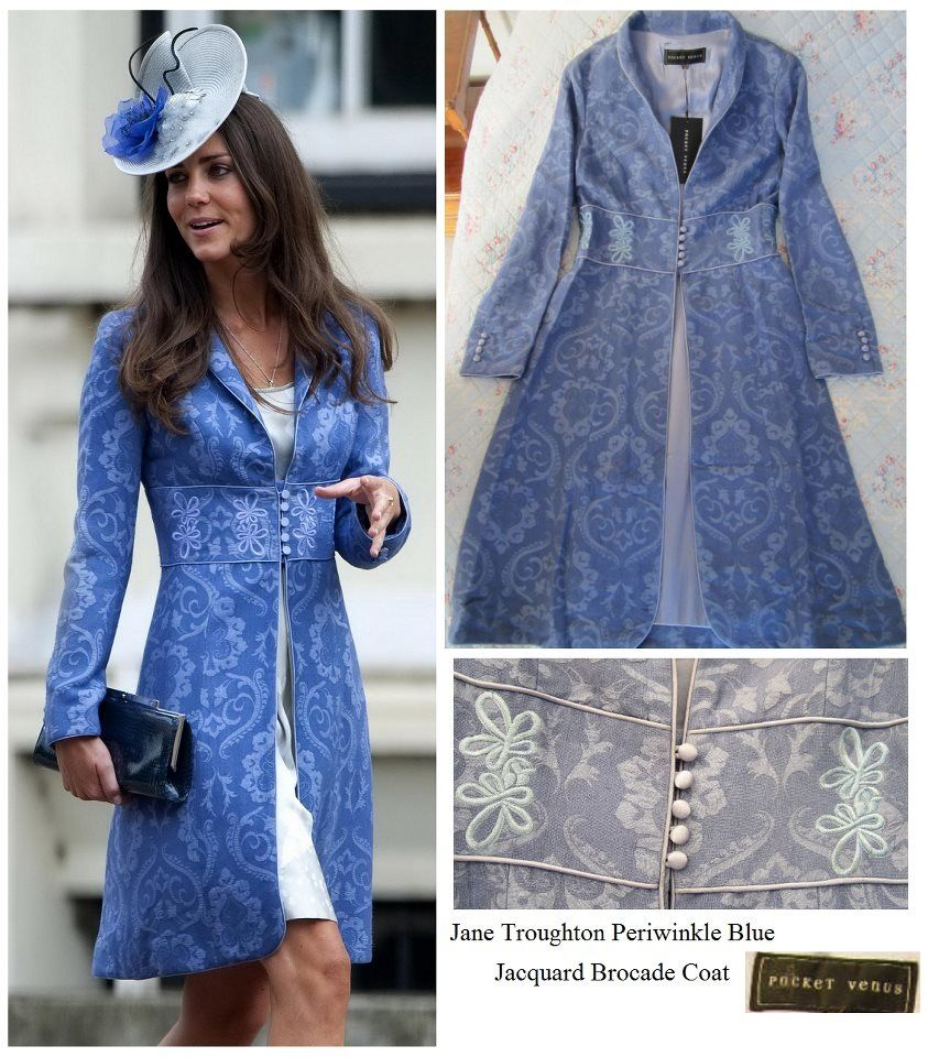 Kate Middleton in a periwinkle blue brocade coat.