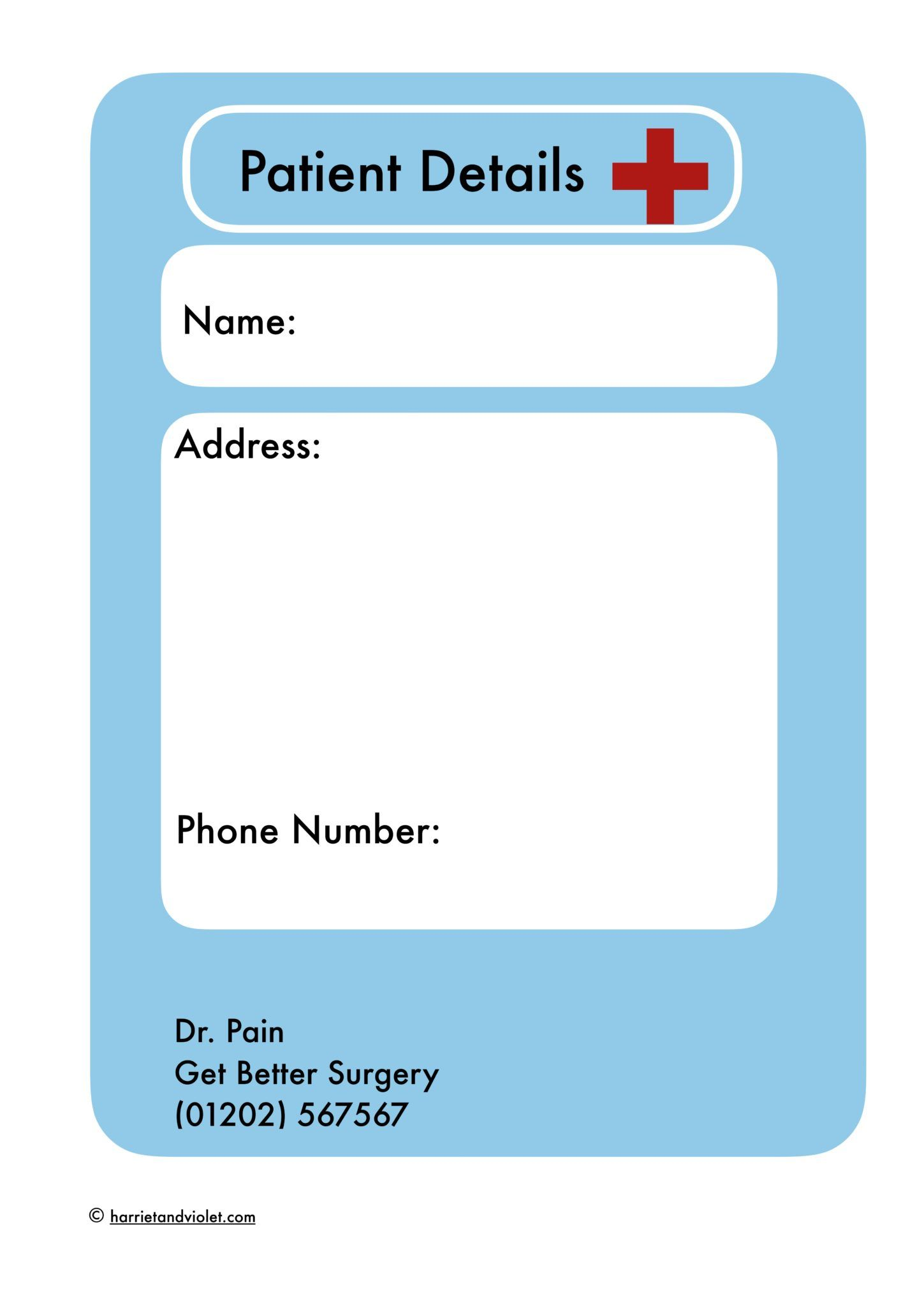 Hospital Form Patient Details To Set Up A Hospital Or
