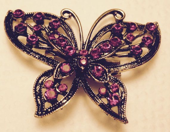 Butterfly Pin Hot Pink Pretty by JewelryLoveCharm on Etsy