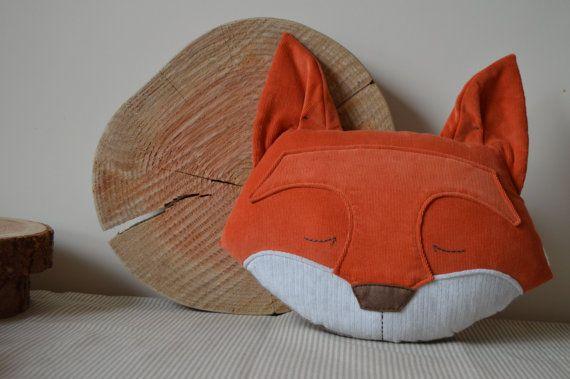 Fox Cushion Fox Pillow Plush Fox Stuffed Fox Woodland by midgins