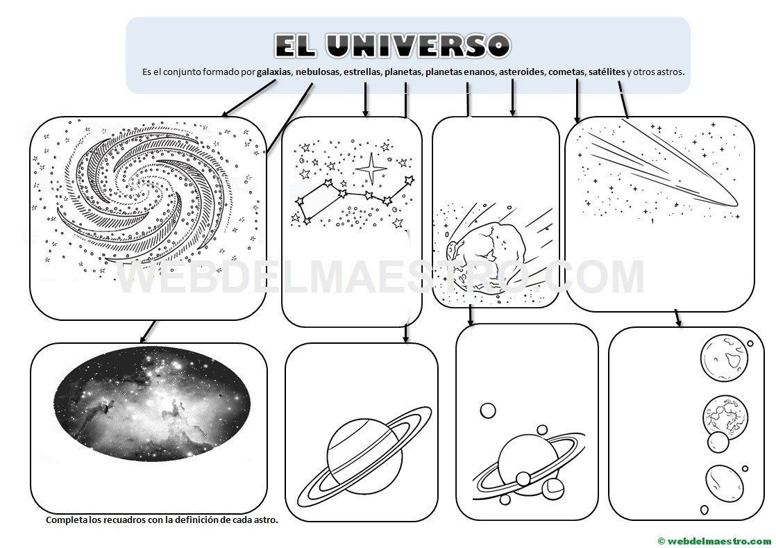 El Universo Dossier Con Imágenes Y Actividades Web Del Maestro El Universo Para Niños Astronomia Para Niños Actividades