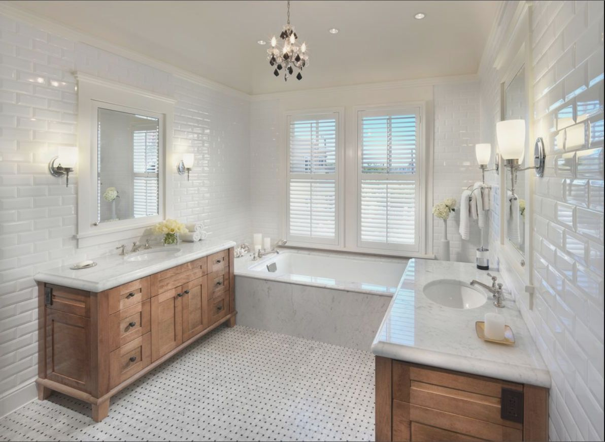 Fixer upper bathrooms designer natural stone subway tile - Fixer upper long narrow bathroom ...