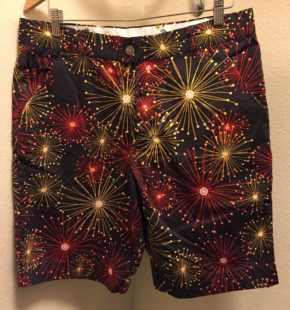 15735ba27bd ☀ROYAL & AWESOME☀Ka-Boom Fireworks Golf Shorts Mens Sz 36 For the Pars &  Bars | eBay