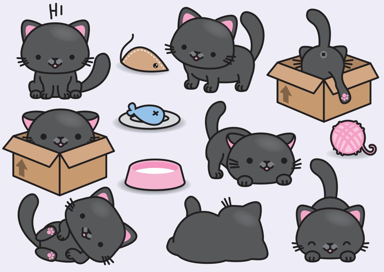 Premium Vector Clipart Kawaii Black Cats Cute Black Cats