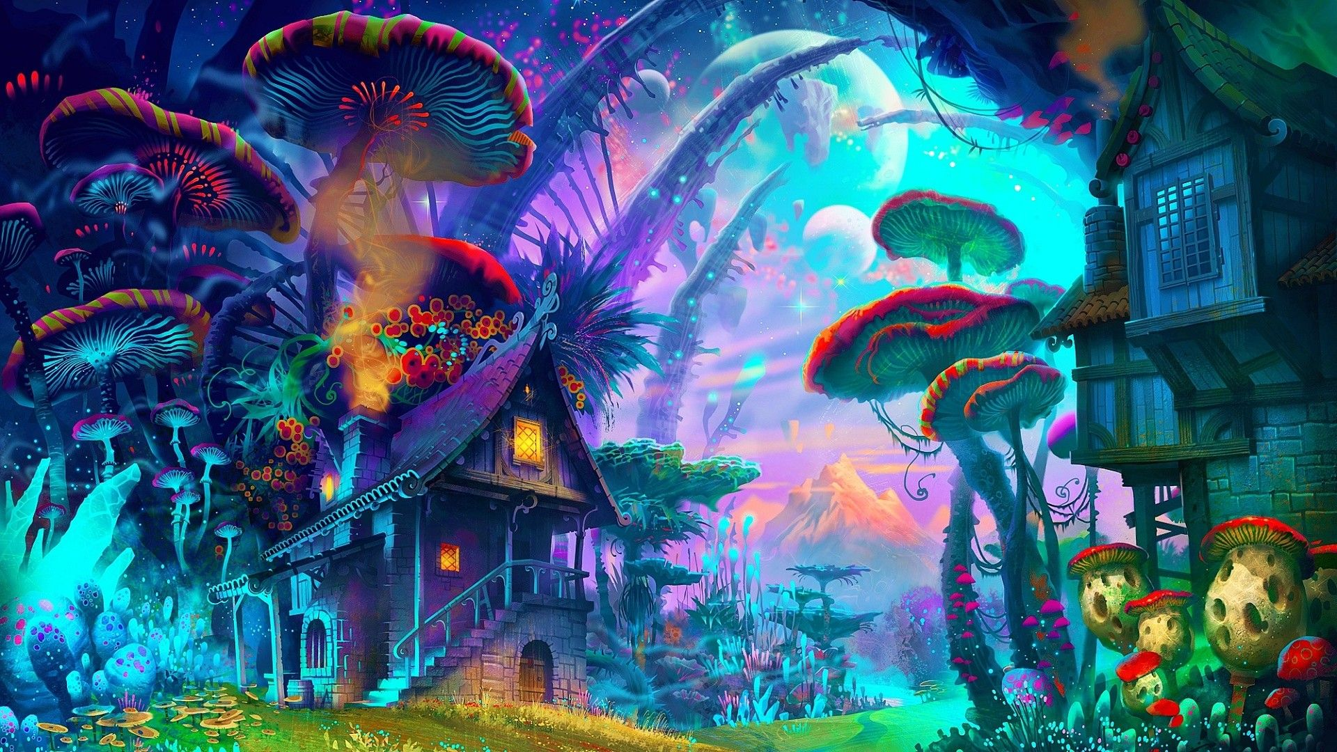 General 1920x1080 fantasy art drawing nature psychedelic