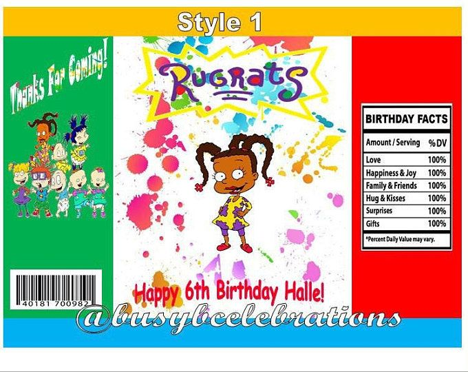 Rugrats Water Label Black