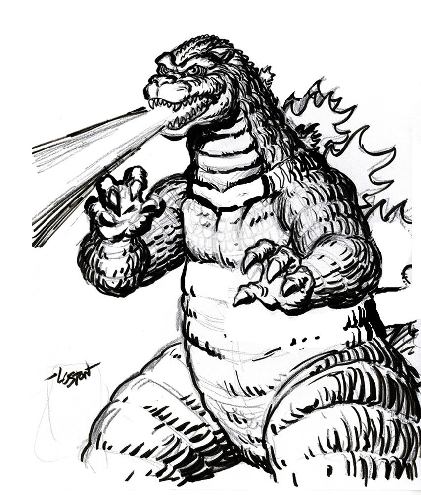 Godzilla Coloring Pages Free Large Images Crafting Godzilla