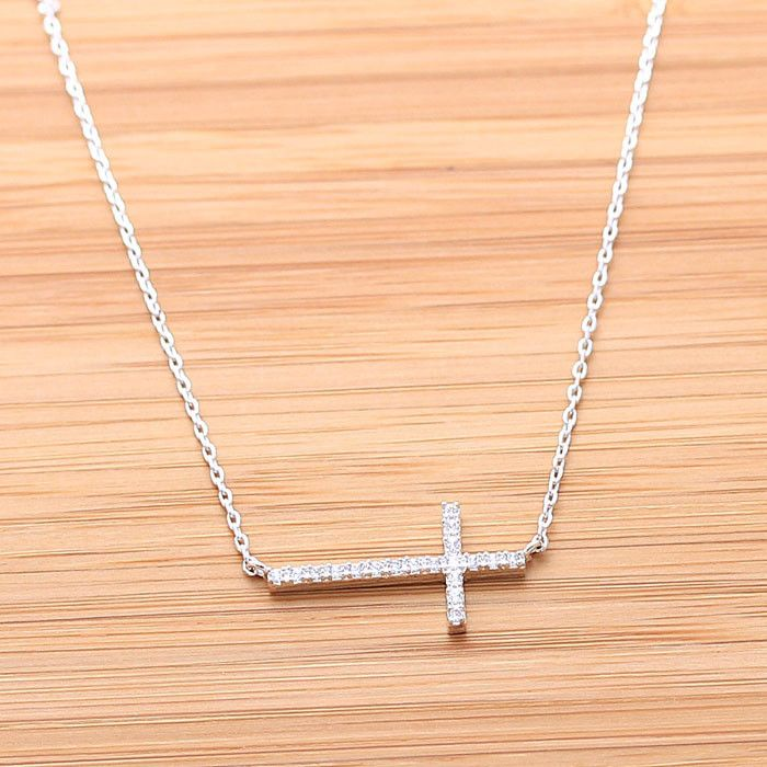 NEW Gold Plated Sterling Silver Plated Crystal Sideways Cross Necklace 15/'/'