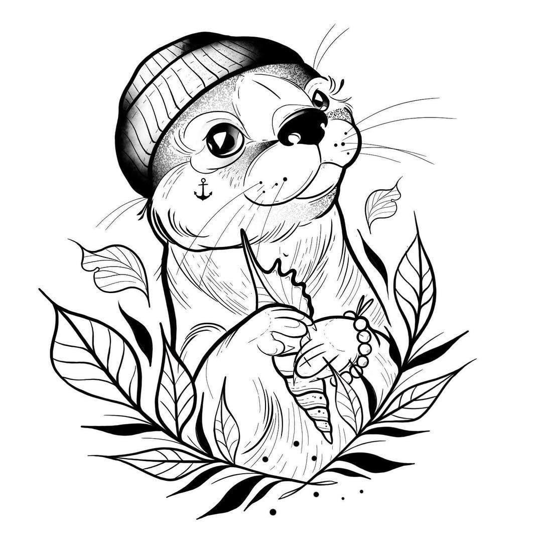 """, Foxtrott Tattoo on Instagram: """"Otterbuddy, neues wannado. ❤️ #ottertattoo #legtattoo #newink #tattooed #tattooidea #fresh #wannado #cutetattoo #ottersketch #otter…"""", My Tattoo Blog 2020, My Tattoo Blog 2020"""