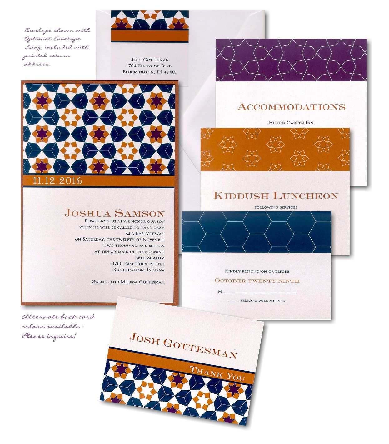 Kaleidoscope Bar Mitzvah Invitation