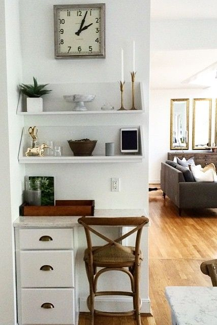 We Love This Home Office Nook A Set Of Drawers Shelves And Some Chic Accessories Created Functional E