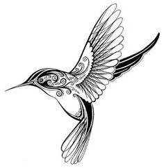 Simple Hummingbird Outline Coloring Pages Tattoo Tatuaje Pajaro