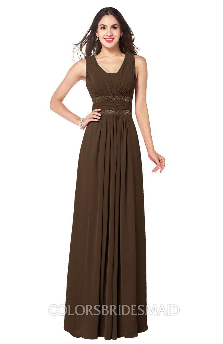 793bc555c84 ColsBM Kelly Chocolate Brown Glamorous A-line Zip up Chiffon Sash Plus Size  Bridesmaid Dresses