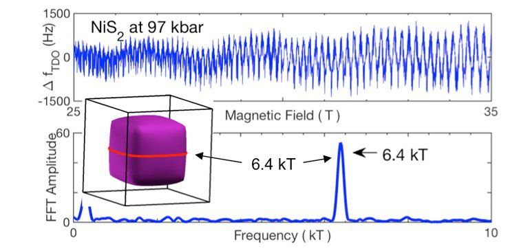 Quantum Oscillations In Nis2 That Appear At Pressures Above The Mott Transition That Is At 30kbar Study Materials Pressure Magnetic Field