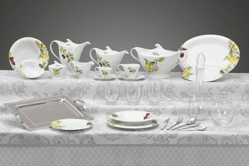 Completo piatti, bicchieri e vassoi decorazione Tortora