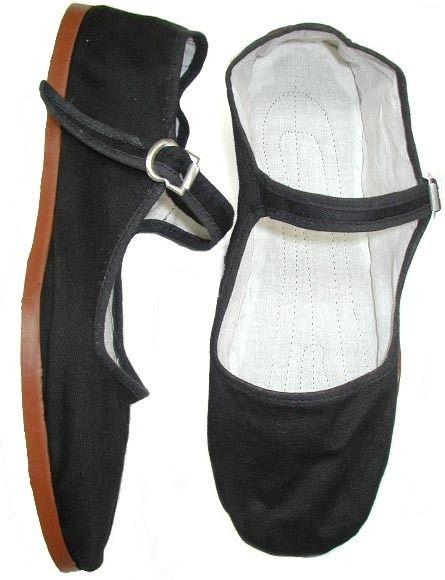 Black Canvas MaryJane China Flat Shoes