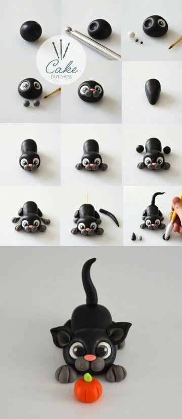 Chat Chat Chat Noir Halloween | Chat fondant, Cake dutchess et Bricolages en argile et polymère