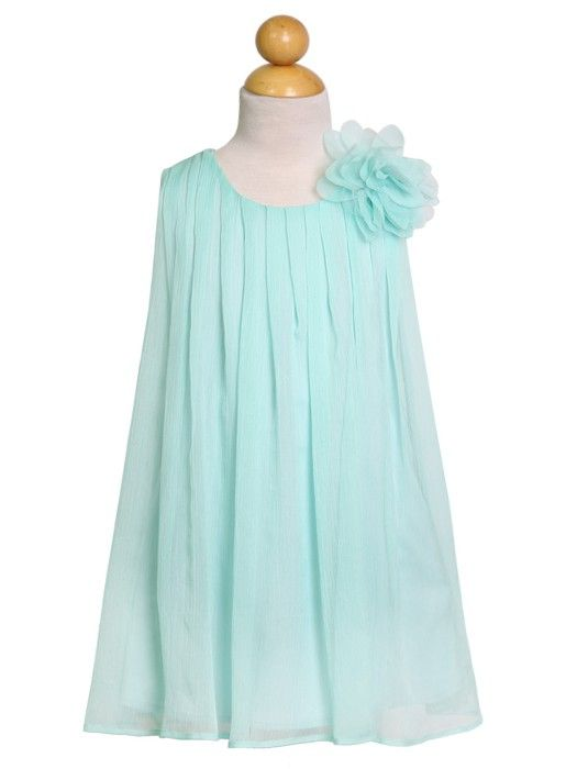 Lovely light chiffon dress perfect for any formal event. This gorgeous dress is accented by a detachable flower. Have your little girl wear this dress for Flower Girl Dress, Easter Girl Dress, and other Formal Events. CA-CJ104-AQ