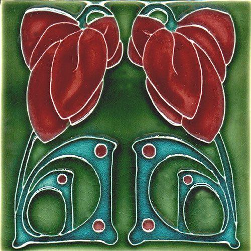 Historic Tiles - Moulded Art Nouveau Tiles - Double Flower