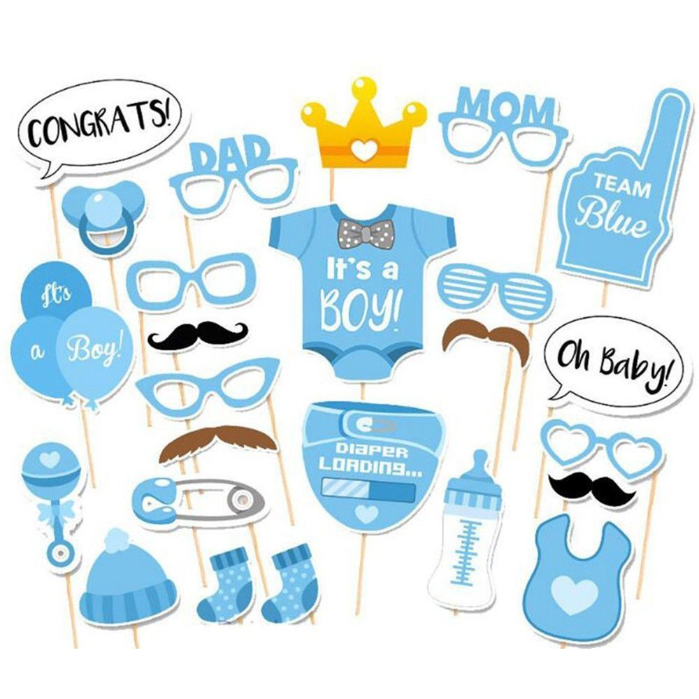 Baby Shower Photo Booth Props Blue Boy 1St First Birthday Party Decoration Ebay Home Garden