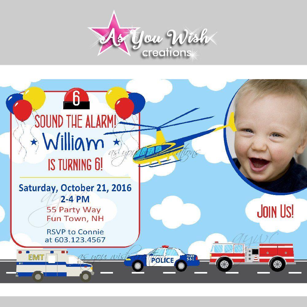 Emergency Vehicles Birthday Party Invitations - Emergency Vehicles ...