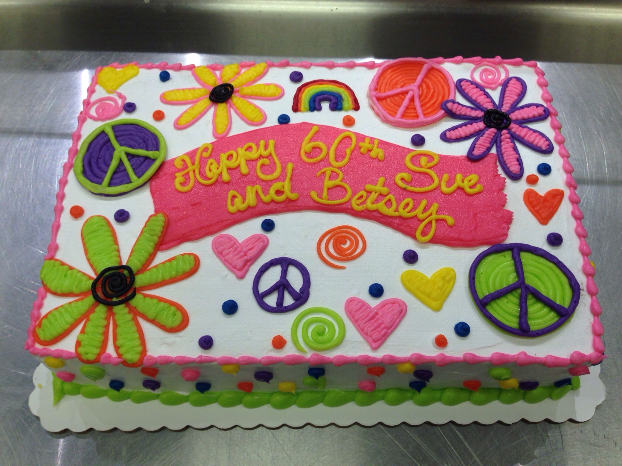 Flower and peace signs neon hippie cake Cakes I made Pinterest