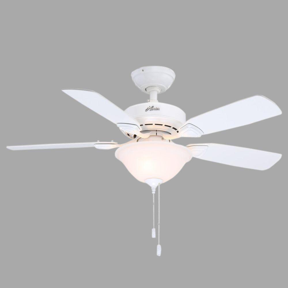 Hunter Caraway 44 In Indoor White Ceiling Fan With Light 52080 The Home Depot Ceiling Fan With Light Ceiling Fan White Ceiling Fan