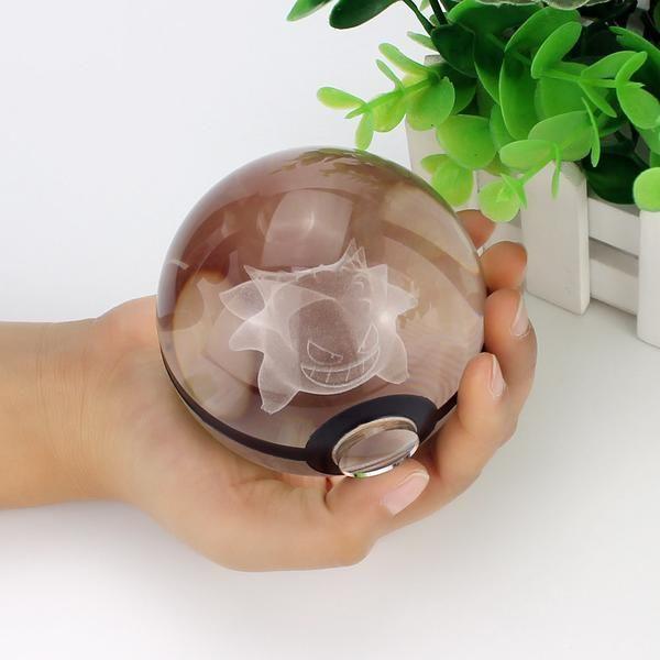 Pokemon Led Crystal Lamp Crystal Ball Glass Pokeball Pokemon