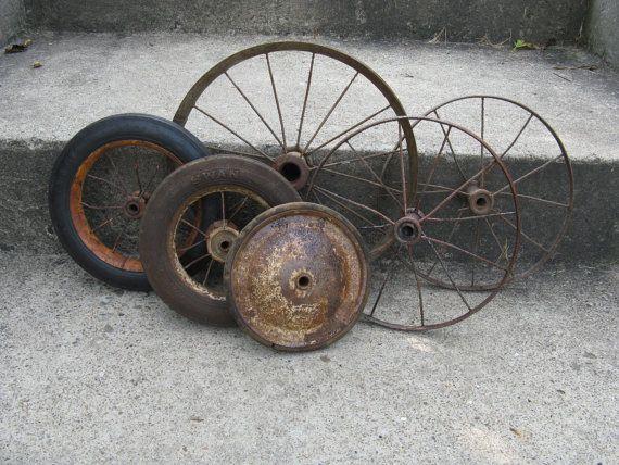 Rustic Assortment Of Metal Wheels Repurpose Home Decor Industrial
