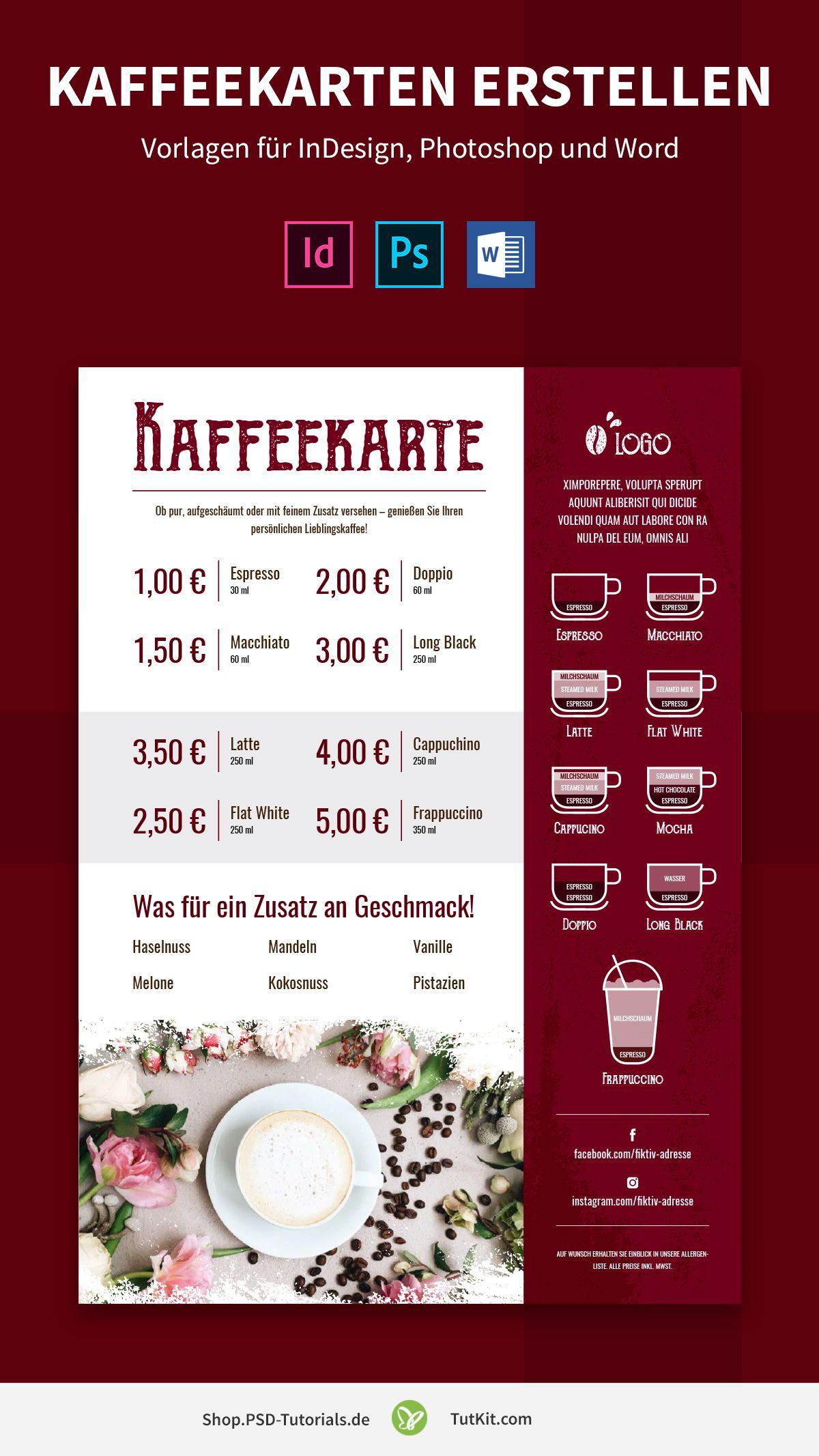 Kaffeekarten Erstellen Vorlagen Fur Indesign Photoshop Und Word In 2020 Kaffeekarten Vorlagen Getranke Karte