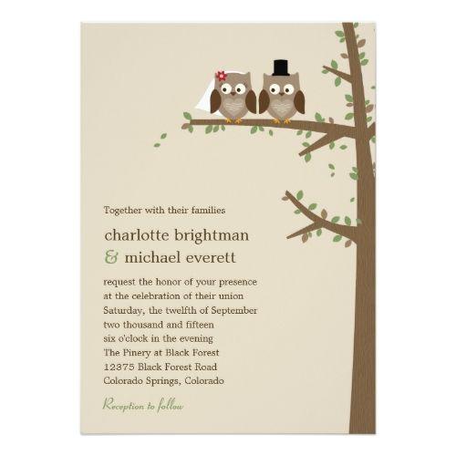 Owl Wedding Invitations Love Owls Wedding Invitation