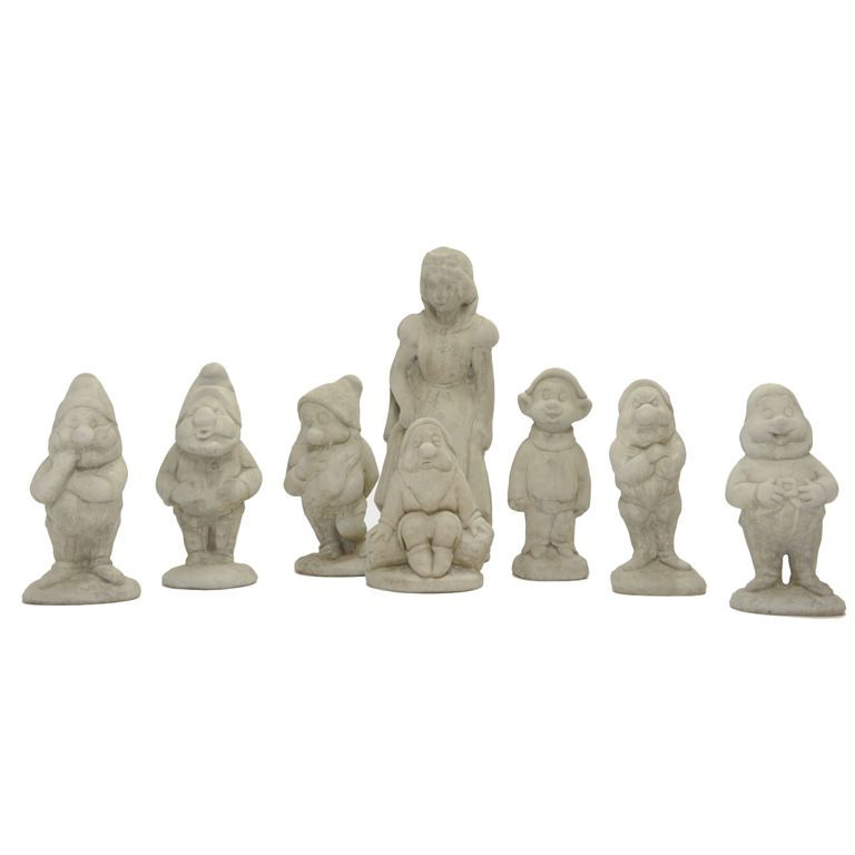 Vintage 3 Snow White And The Seven Dwarfs Garden Statues From A Unique Collection