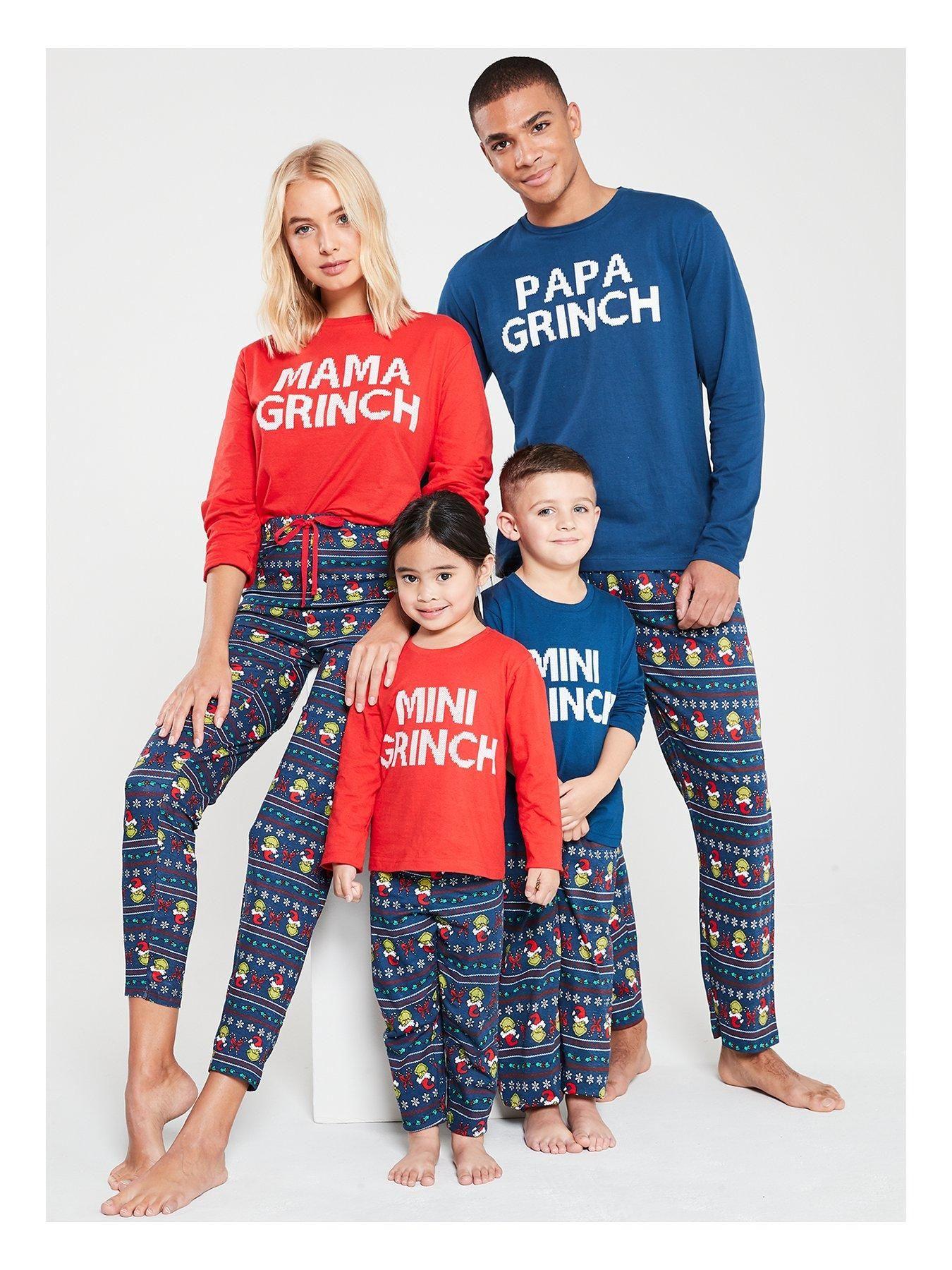 Boys Mini Grinch Family Christmas Pyjamas Navy in 2020