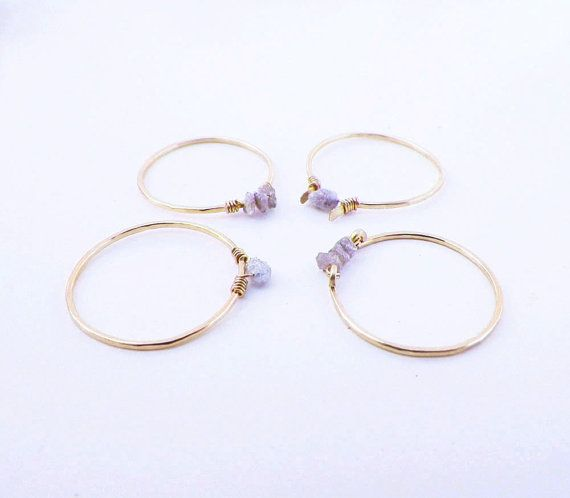 Items similar to Thin Diamond Rings, Delicate Raw Diamond Rings- set of 4 dainty gold hammered stone stacking rings, skinny diamond solitaire rings on Etsy