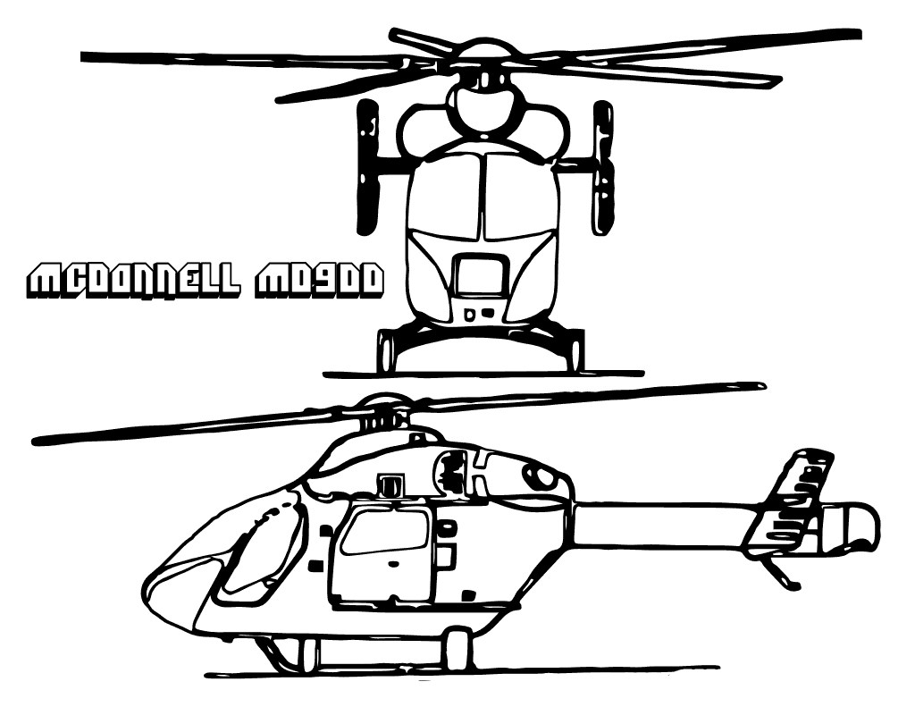 Helicopters Mcdonnell Md900  Helicopters Coloring Pages