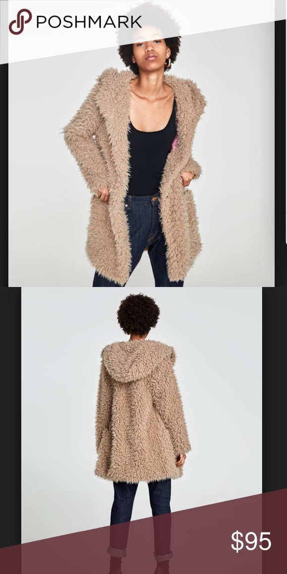 bb79819d Zara Textured Coat with Hood New with tags!! I'm short and it's so big on  me Tags: teddy bear jacket, fluffy brown jacket, Zara Jackets & Coats