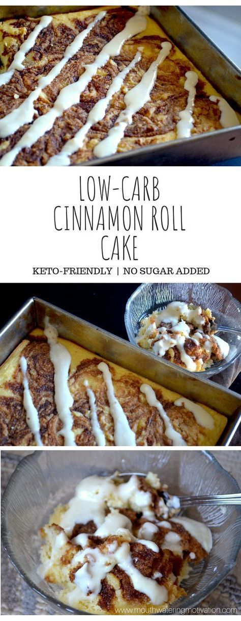 Low-Carb Cinnamon Roll Cake #rollcake