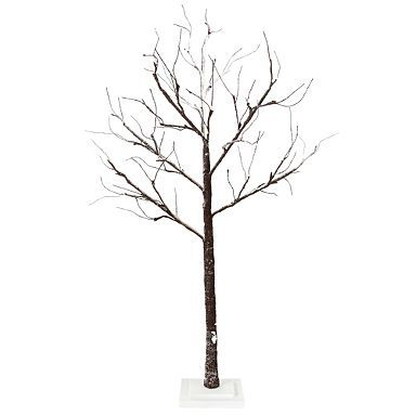 Snowy Brown LED Twig Tree