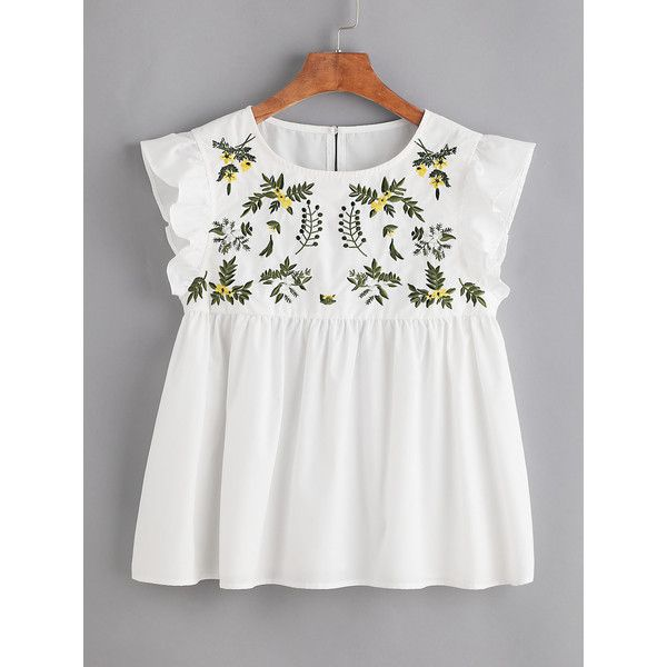 ff9171ad2a355c SheIn(sheinside) Flower Embroidered Buttoned Keyhole Ruffle Babydoll...  ( 15) ❤ liked on Polyvore featuring tops