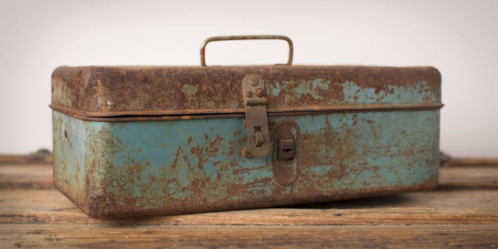 BIG SALE****Vintage Metal Old Rusty Toolbox