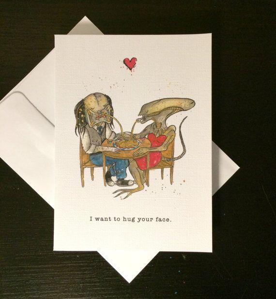 "valentine's day card alien loves predator ""i want to hug"