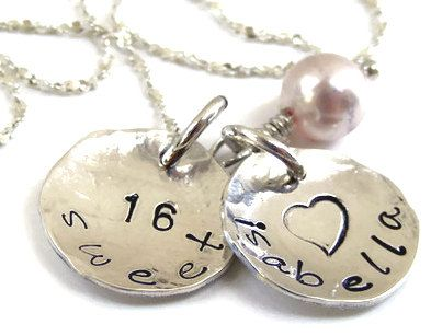 Personalized Sweet 16 necklace hand stamped sterling silver sweet 16 gift. $35.00, via Etsy.