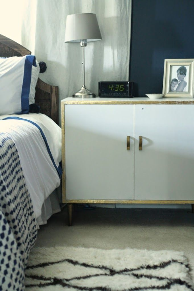 My White Midcentury Gold Leaf Edged Nightstands/Cabinets - Primitive and Proper